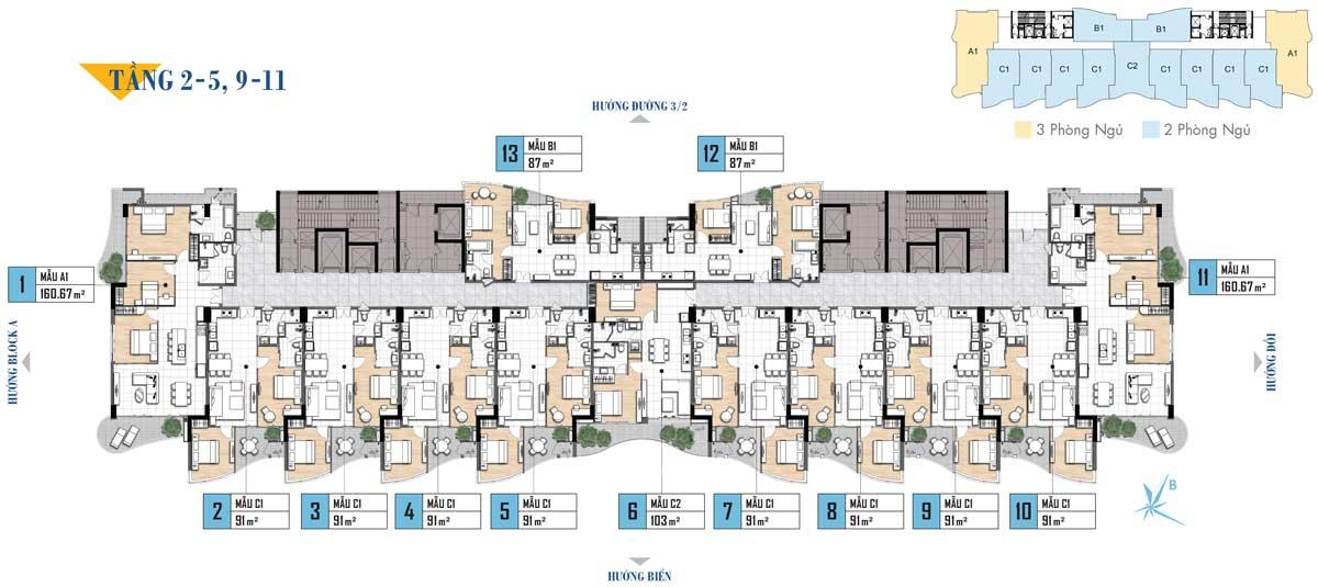 Mặt bằng tầng 2-5, 9-11 Dự án Aria Vũng Tàu