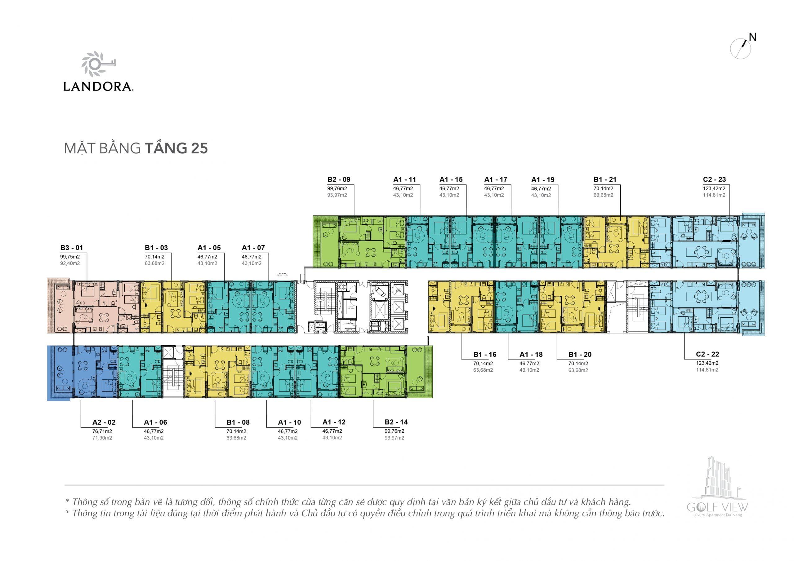 Mặt bằng thiết kế tầng 25 Căn hộ Golf View Luxury Apartment Đà Nẵng