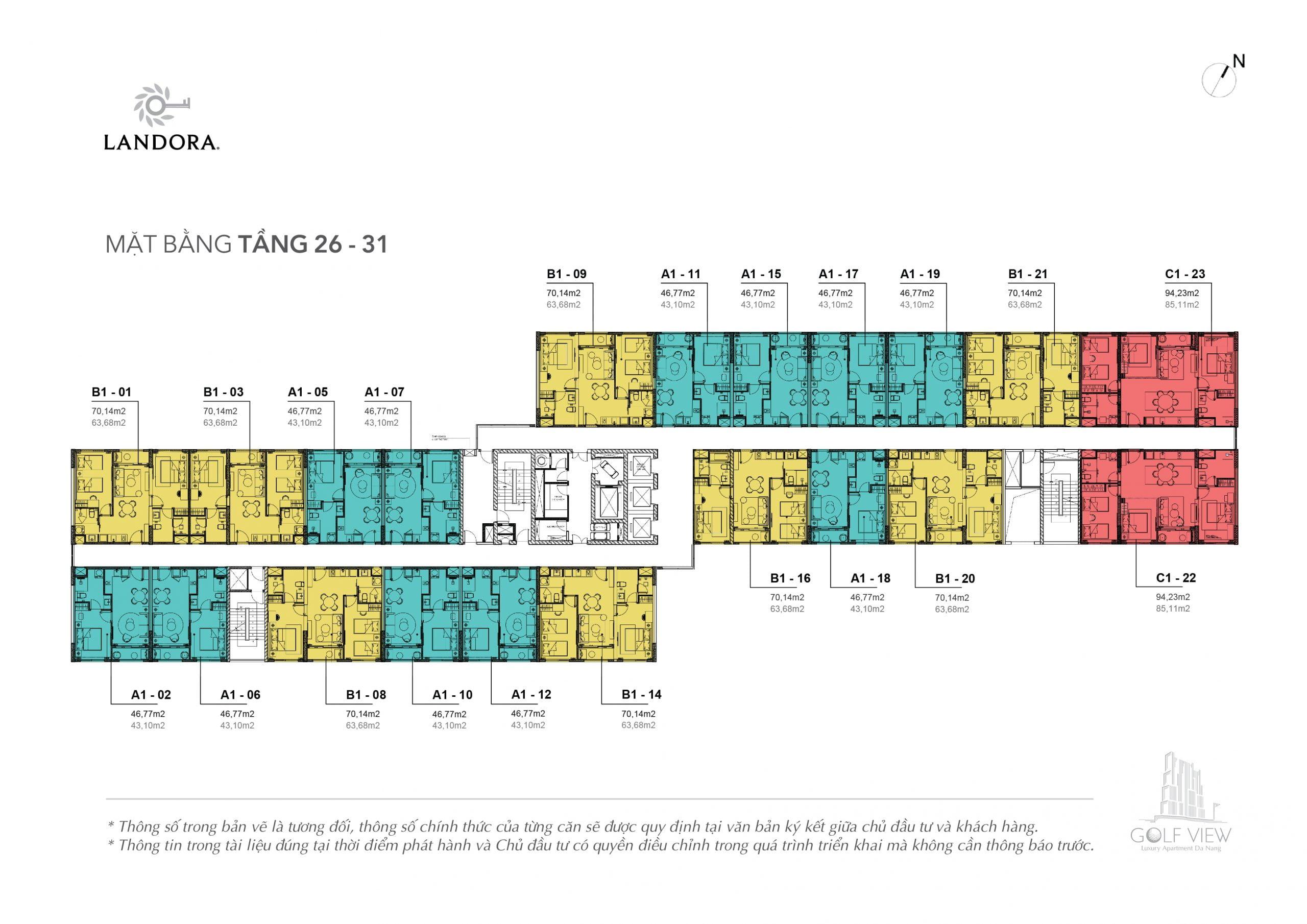 Mặt bằng thiết kế tầng 26 đến tầng 31 Căn hộ Golf View Luxury Apartment Đà Nẵng
