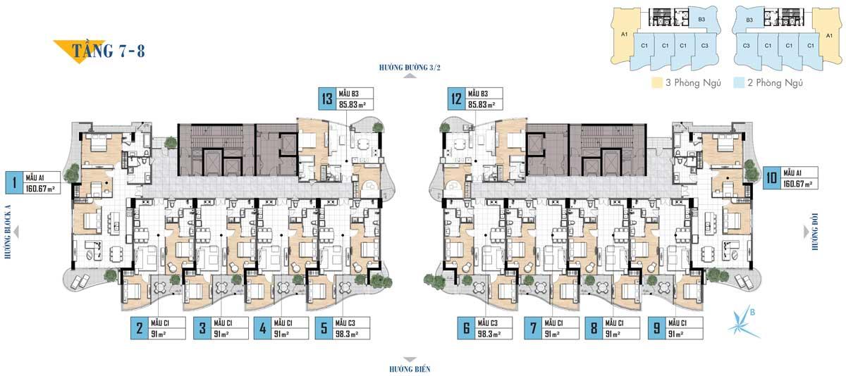Mặt bằng tầng 7-8 Dự án Aria Vũng Tàu
