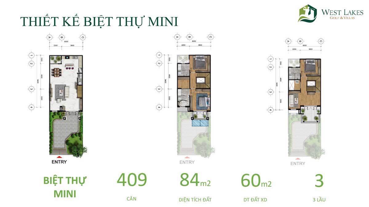 Thiết kế Mặt bằng tầng Biệt thự Mini West Lakes Golf & Villas Long An