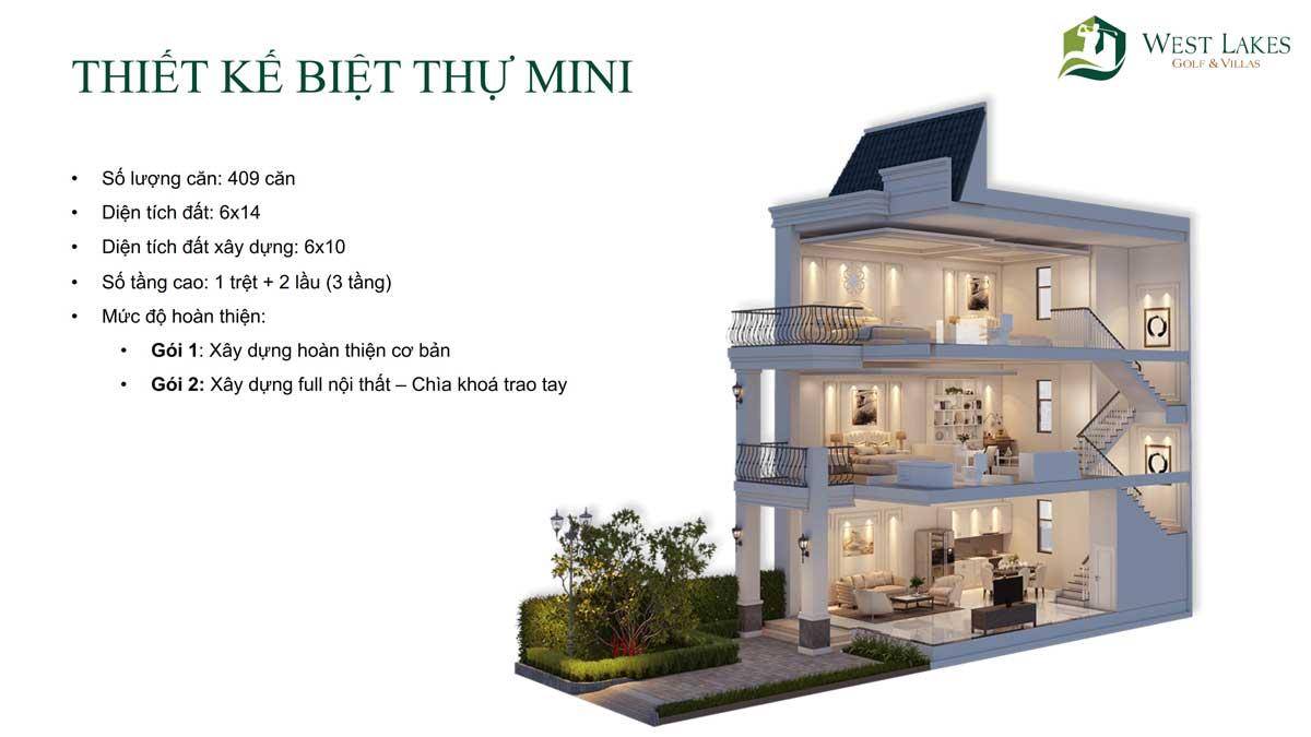 Thiết kế Biệt thự Mini West Lakes Golf & Villas Long An