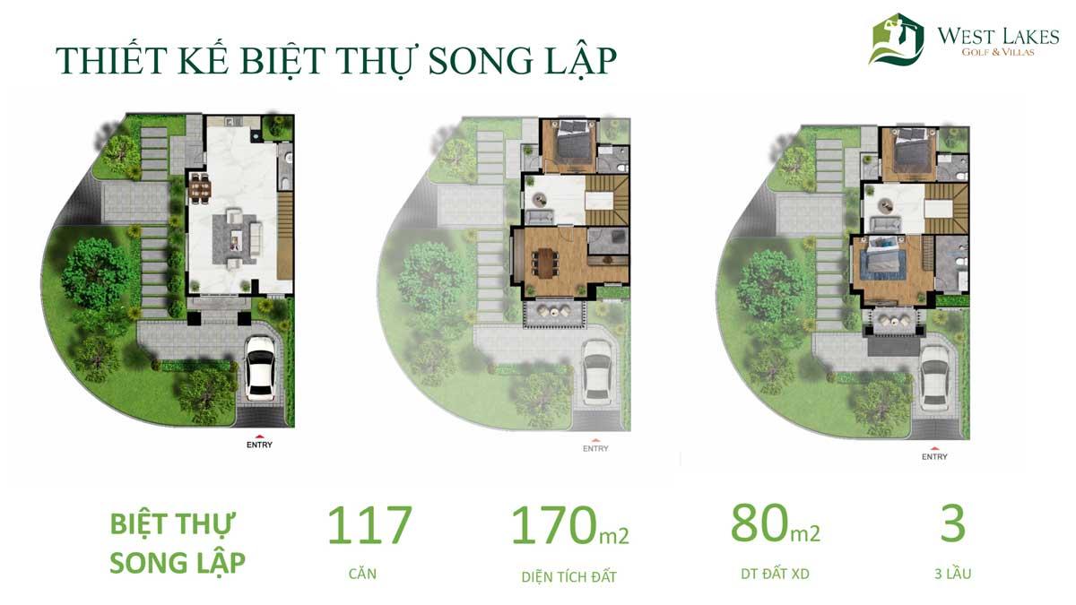 Thiết kế Mặt bằng tầng Biệt thự Song lập West Lakes Golf & Villas Long An