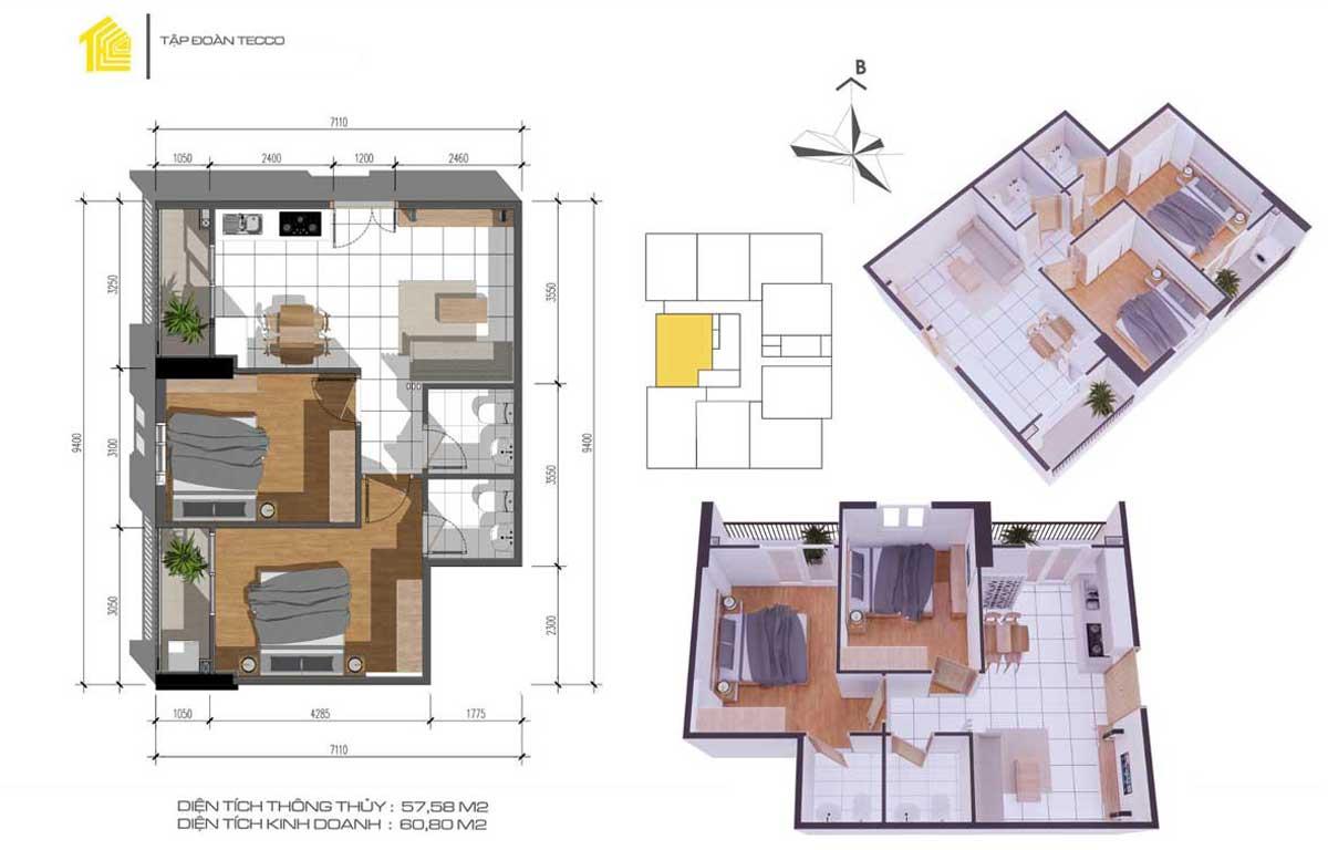 Thiết kế Căn 2PN 66m2 Dự án Fresia Garden Quận 9