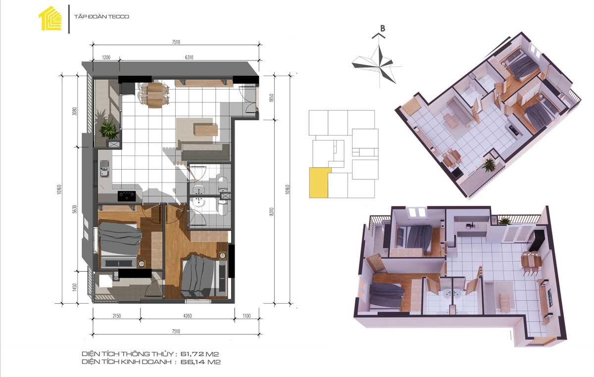 Thiết kế Căn 2PN 60m2 Dự án Fresia Garden Quận 9