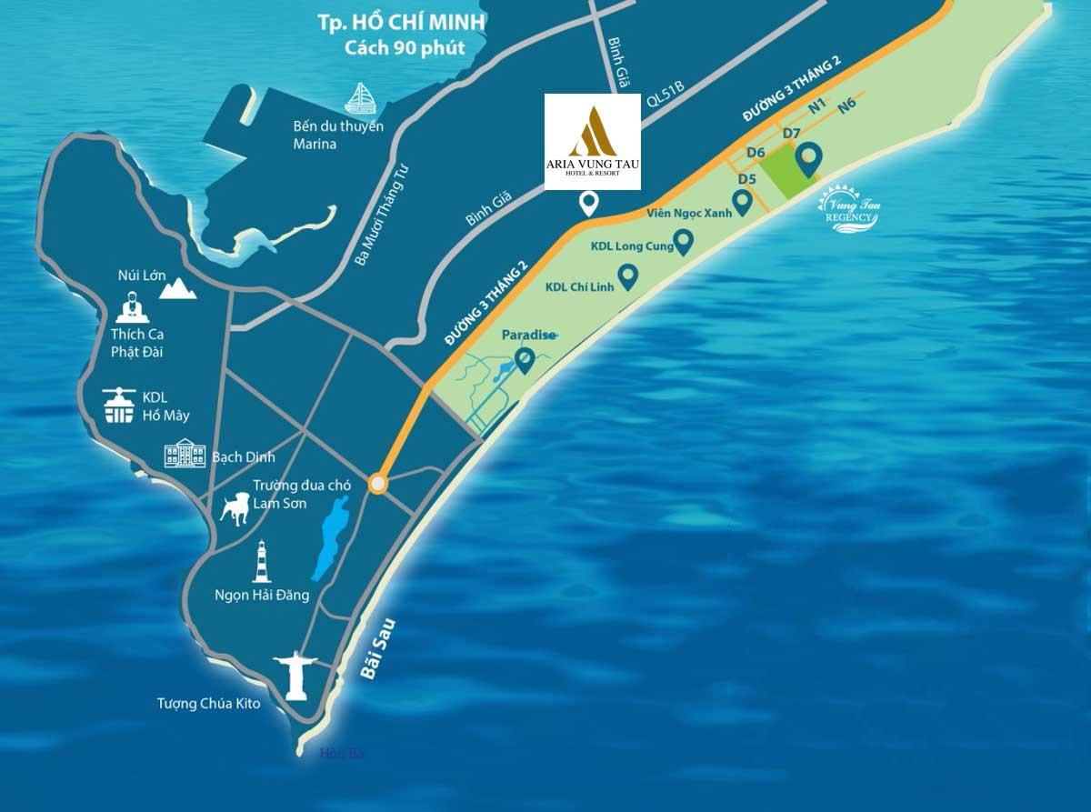 Vị trí Căn hộ Aria Vũng Tàu Hotel & Resort