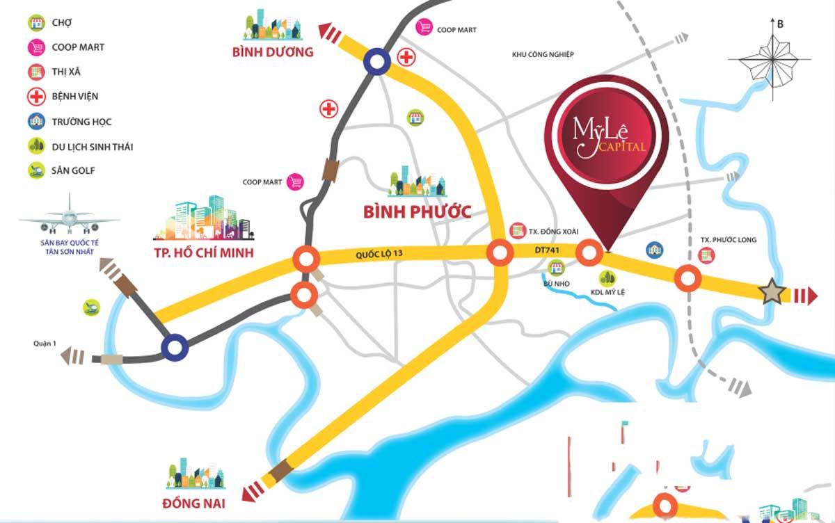 Vị trí Dự án Khu Đô Thị Mỹ Lệ Capital Bình Phước