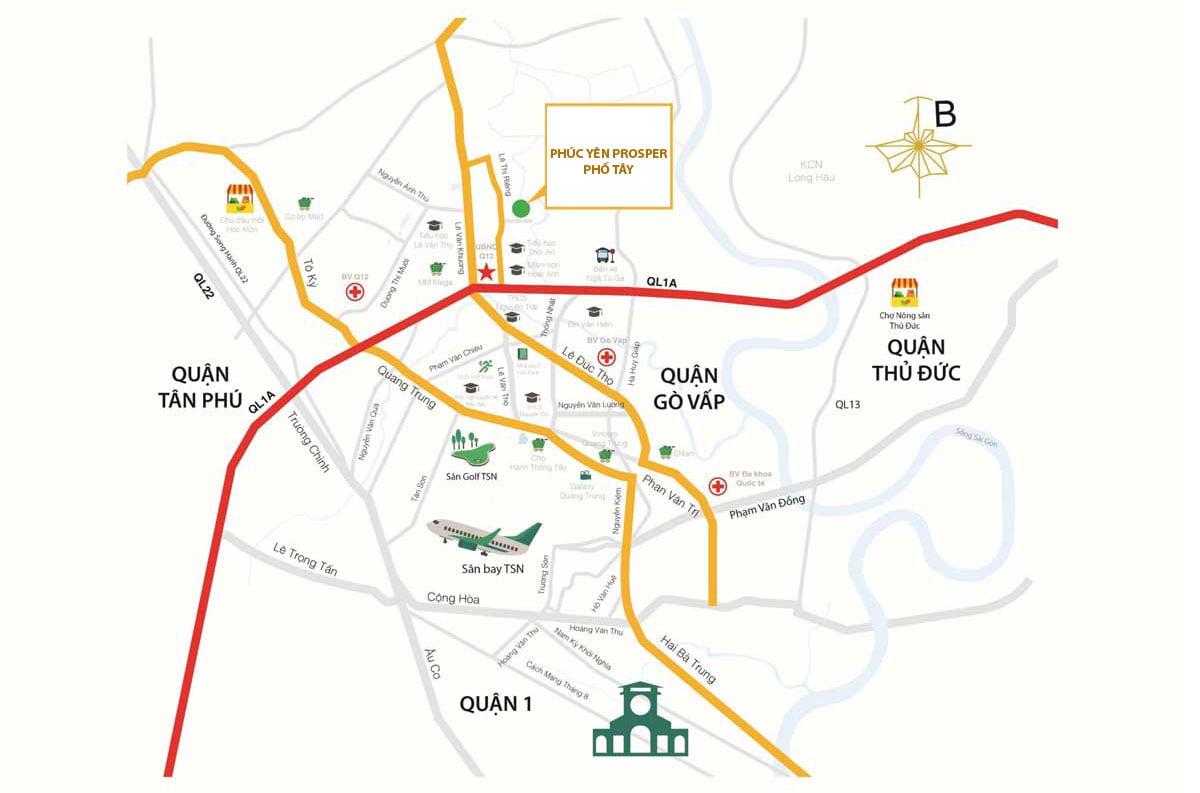 Bản đồ Vị trí Dự án Căn hộ Chung cư Phúc Yên Prosper Phố Tây Thới An Quận 12