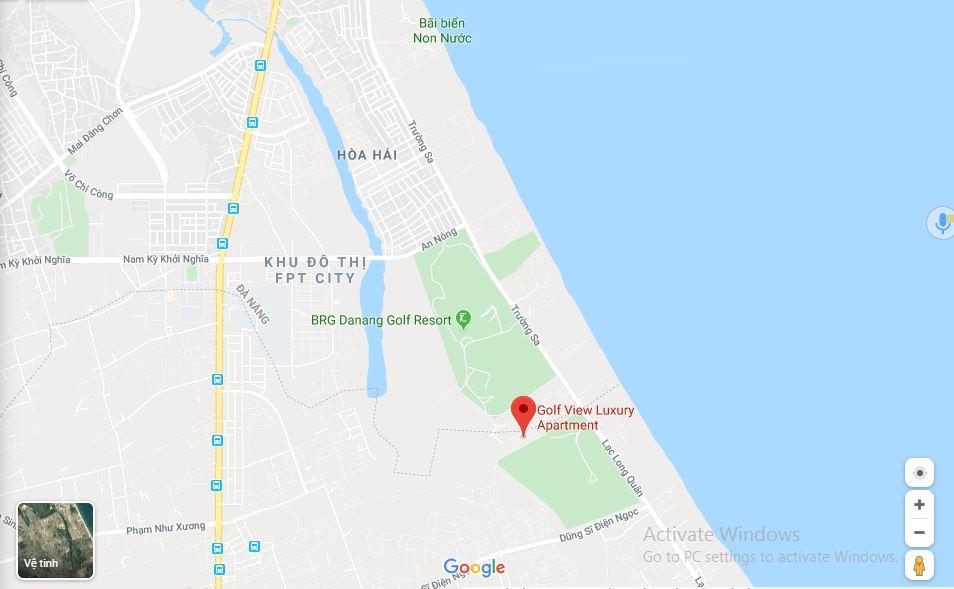 Vị trí trên google maps Dự án Căn hộ Golf View Luxury Apartment Đà Nẵng
