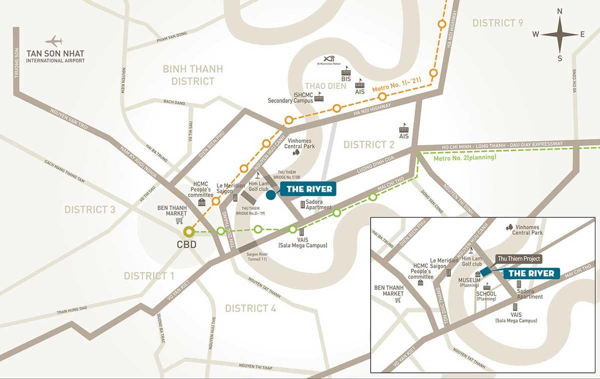 Bản đồ Vị trí Dự án Căn hộ Empire City Thủ Thiêm Quận 2