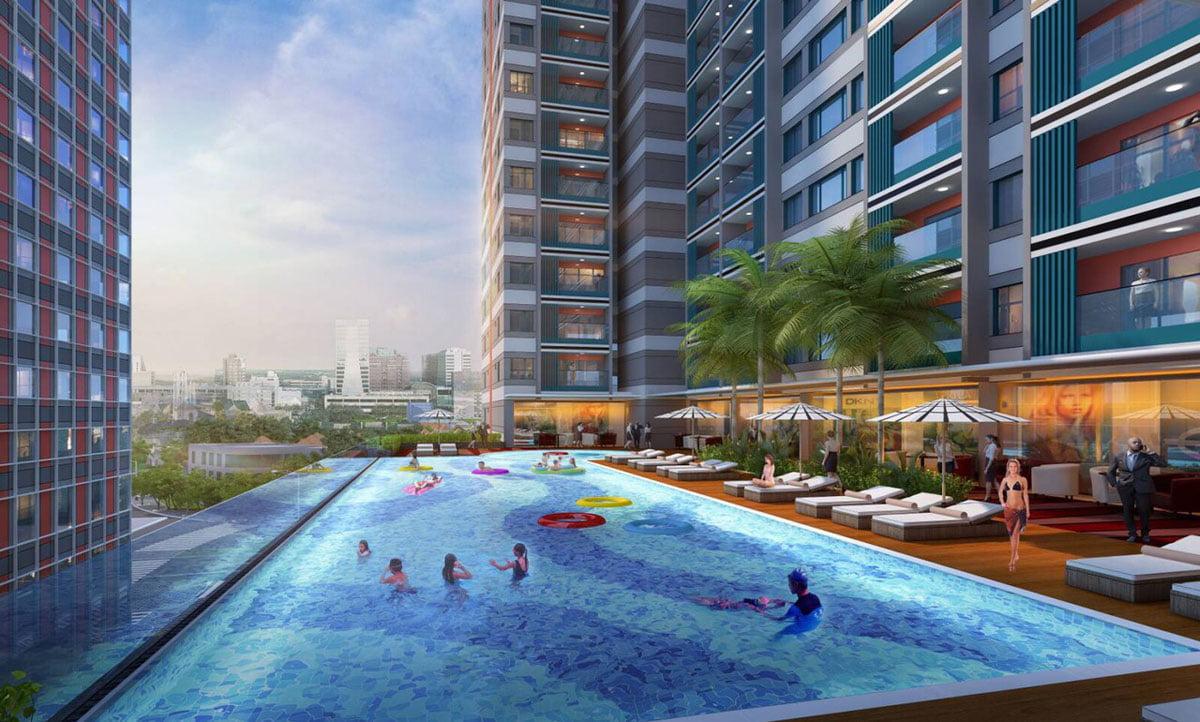 Hồ bơi tràn bờ Dự án Căn hộ Grand Center Quy Nhơn