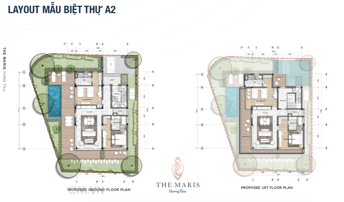 Thiết kế Layout mẫu biệt thự A2 dự án The Maris Vũng tàu