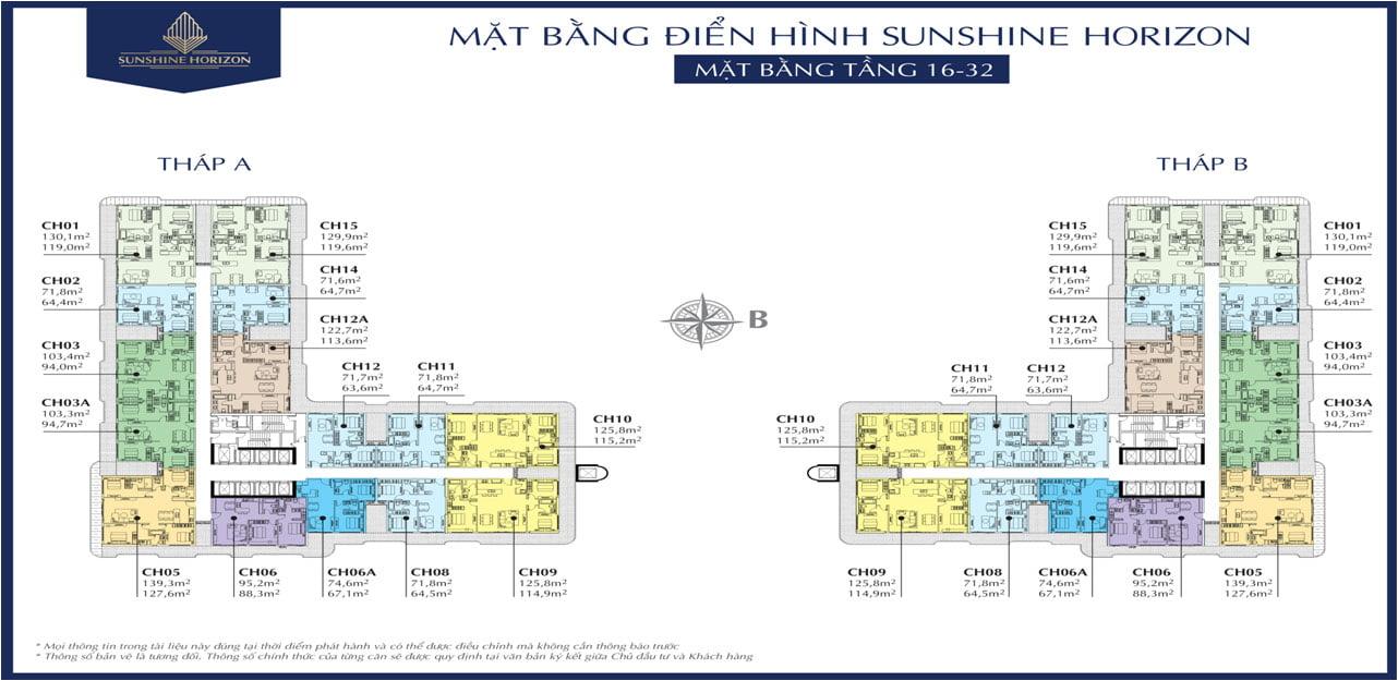 Mặt bằng Tầng 16 – 32 Dự án Căn hộ Sunshine Horizon