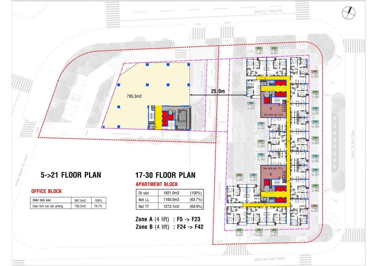 Mặt bằng Tầng 17-30 Dự án Căn hộ Grand Center Quy Nhơn