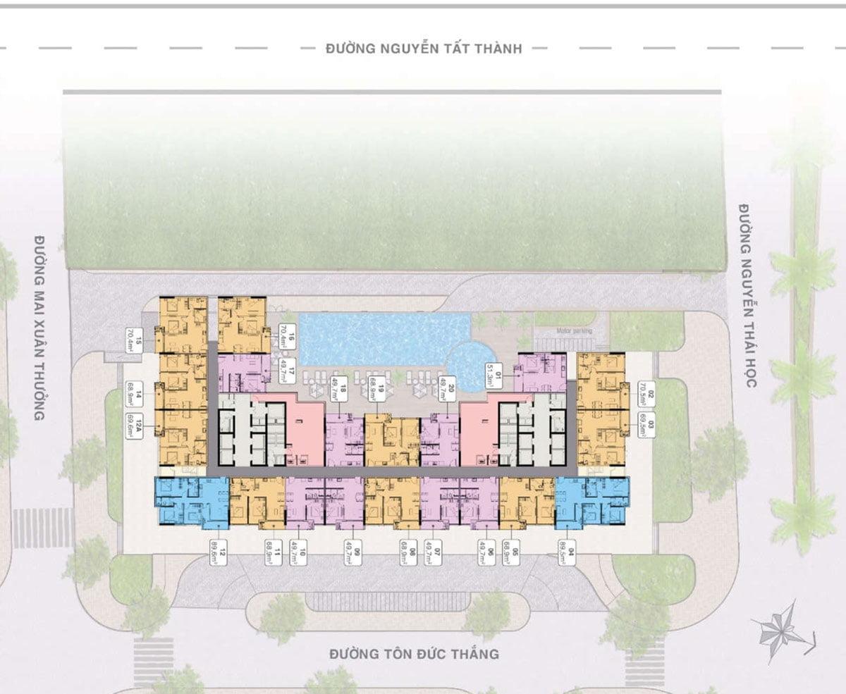 Mặt bằng Tầng 16-30 Dự án Căn hộ Grand Center Quy Nhơn