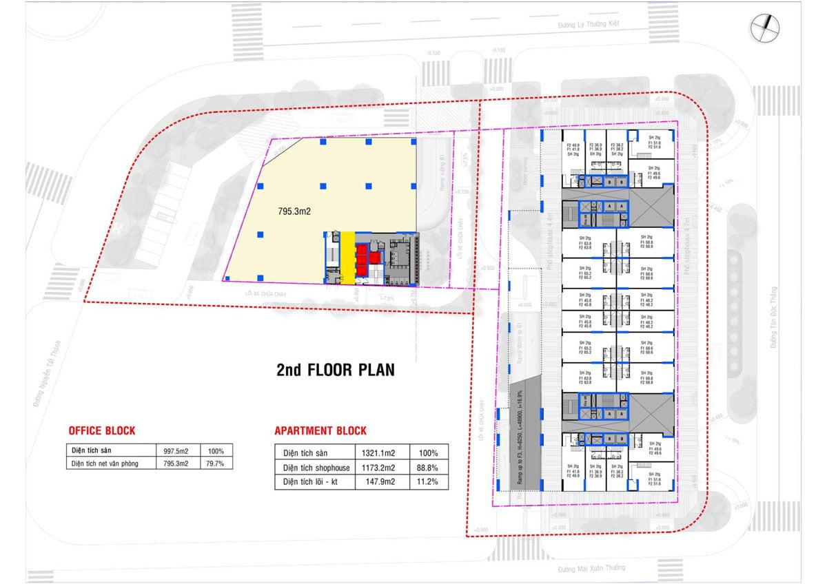 Mặt bằng Tầng 2 Dự án Căn hộ Grand Center Quy Nhơn