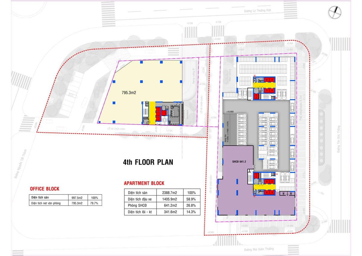 Mặt bằng Tầng 4 Dự án Căn hộ Grand Center Quy Nhơn