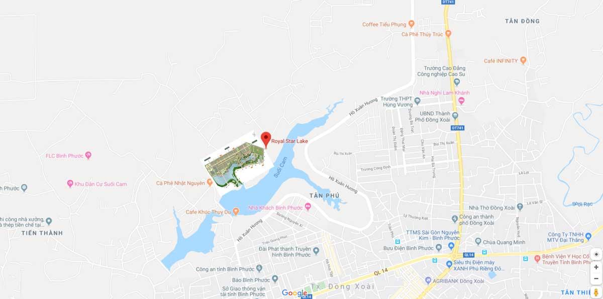 Vị trí Dự án Royal Star Lake Hồ Suối Cam Đồng Xoài Bình Phước trên Google Maps