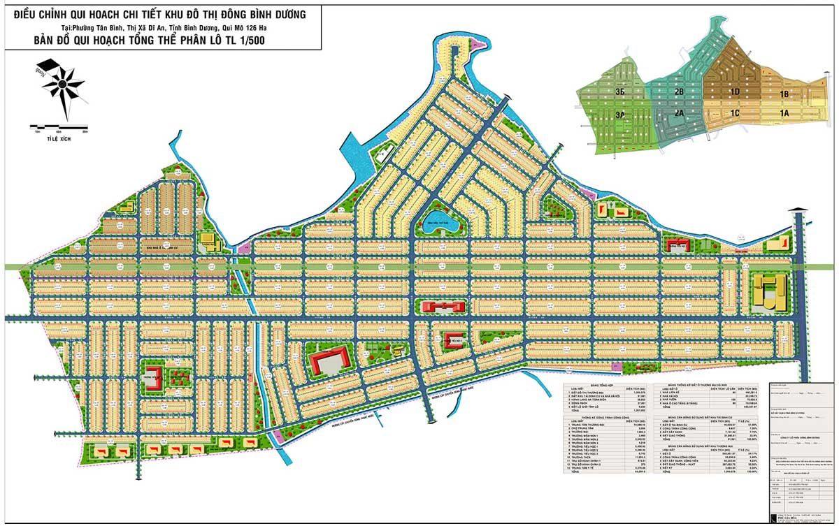 Quy hoạch 1/500 Dự án Khu đô thị Đông Bình Dương