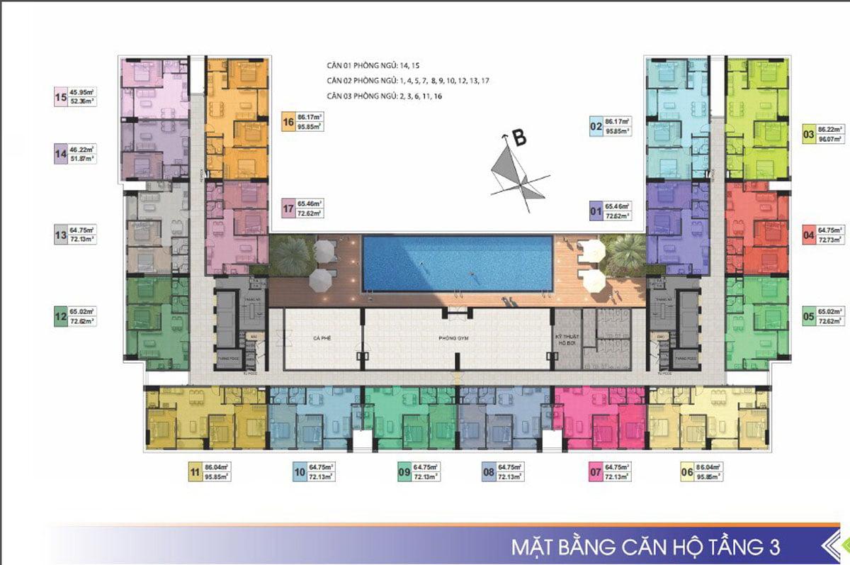 Mặt bằng tầng 3 Dự án Căn hộ Chung cư Phú Tài Residence