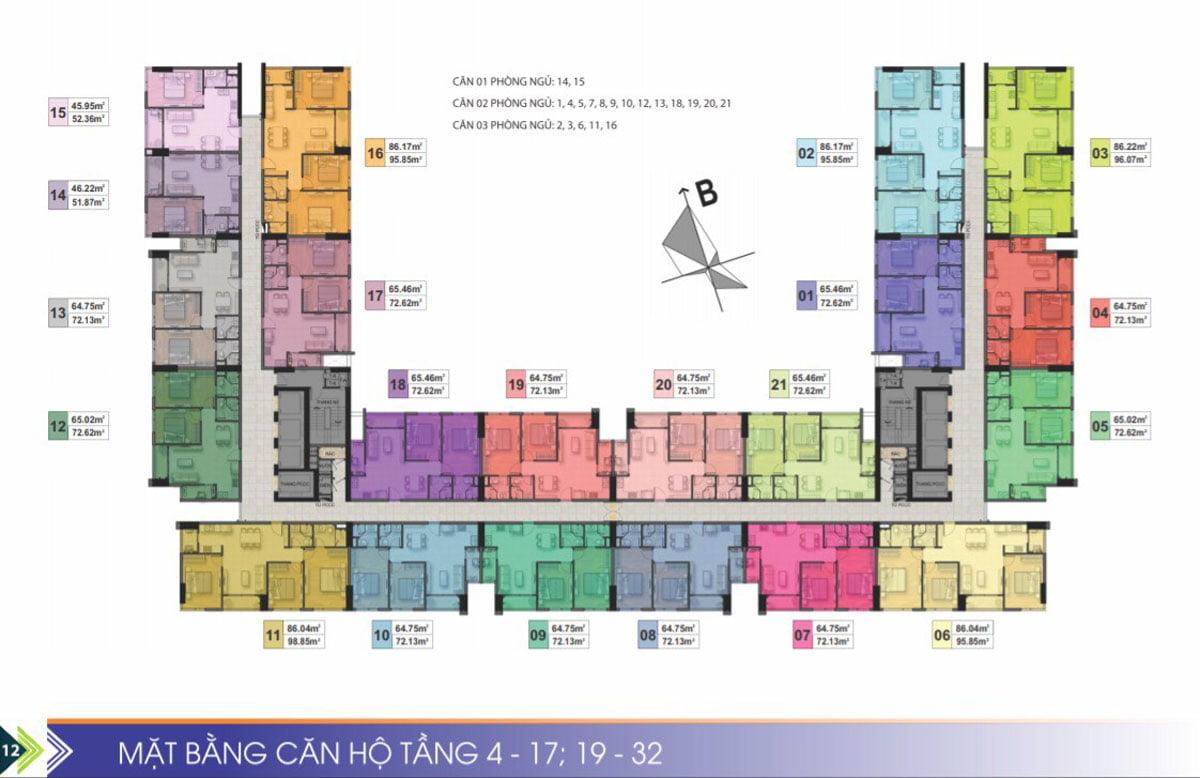 Mặt bằng tầng 4-17, 19-33 Dự án Căn hộ Chung cư Phú Tài Residence