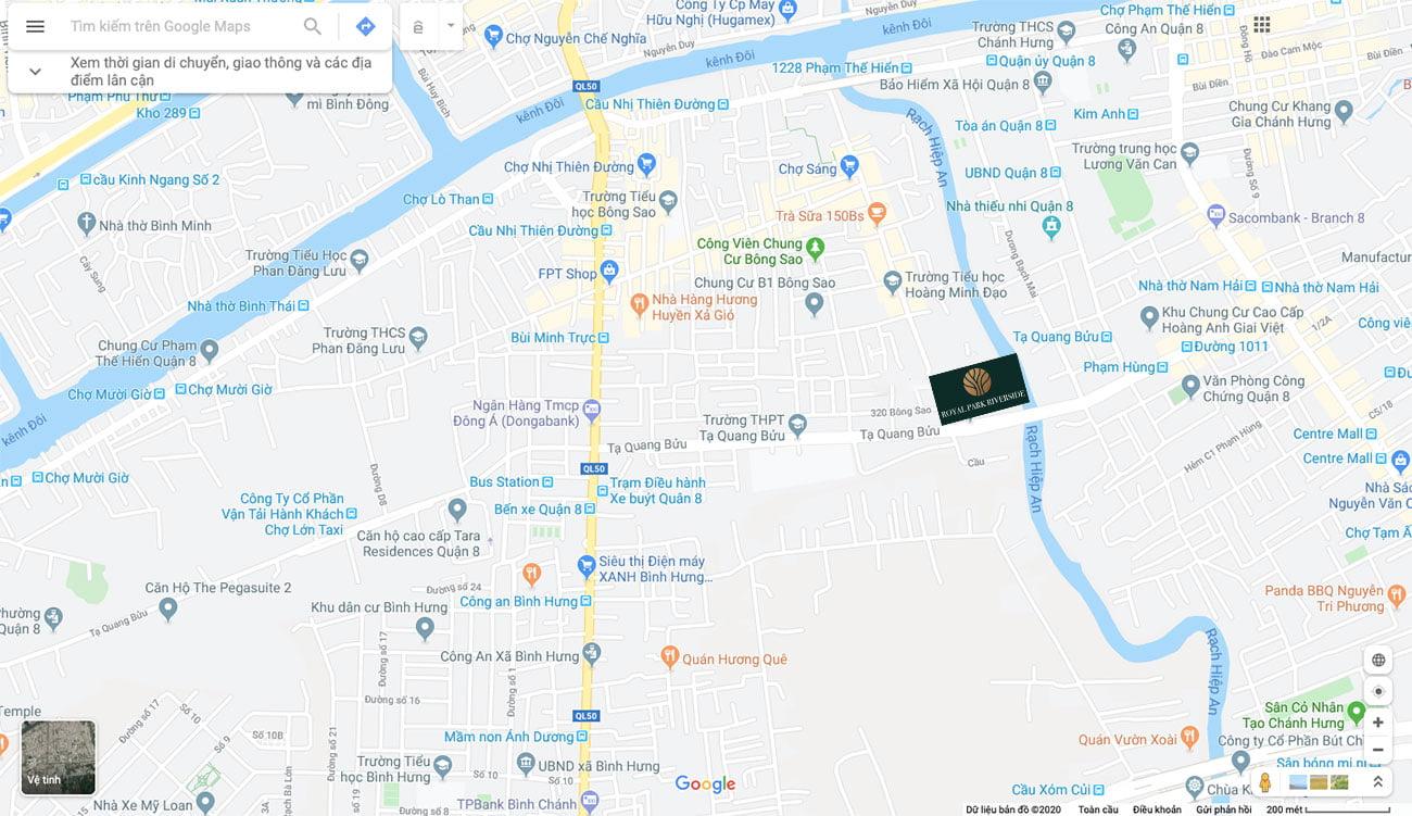 Vị trí Royal Park Riverside Quận 8 trên google maps