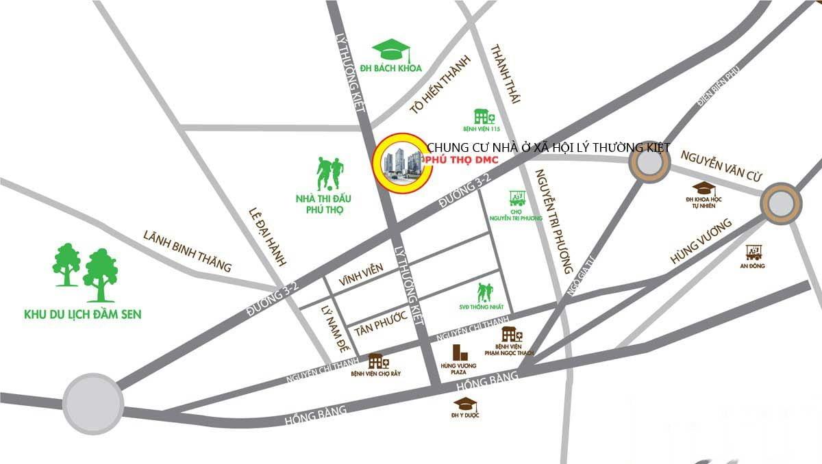 Vị trí Chung cư Nhà Ở Xã Hội Lý Thường Kiệt Phú Thọ DMC Quận 10