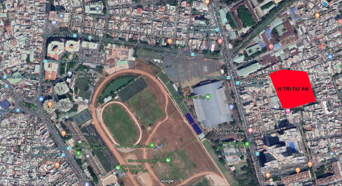 Vị trí trên Google Maps Dự án Chung cư Nhà Ở Xã Hội Lý Thường Kiệt Phú Thọ DMC Quận 10