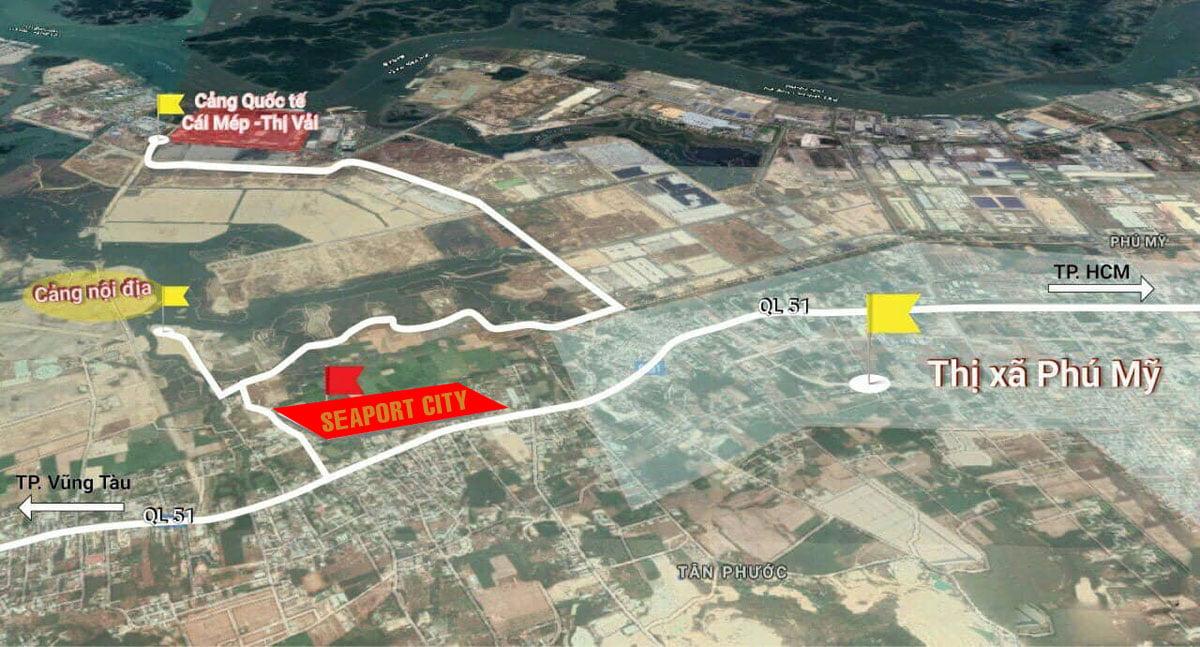 Vị trí thực tế Dự án SeaPort City Thị xã Phú Mỹ, Tỉnh Bà Rịa – Vũng Tàu