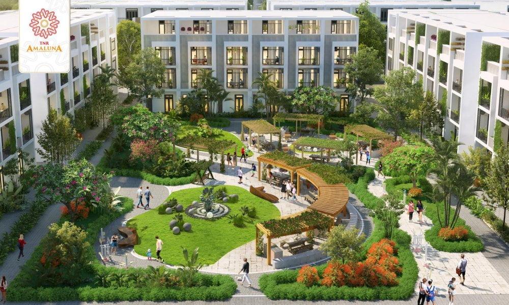Công viên trung tâm dự án khu đô thị nhà phố TNR Amaluna Trà Vinh