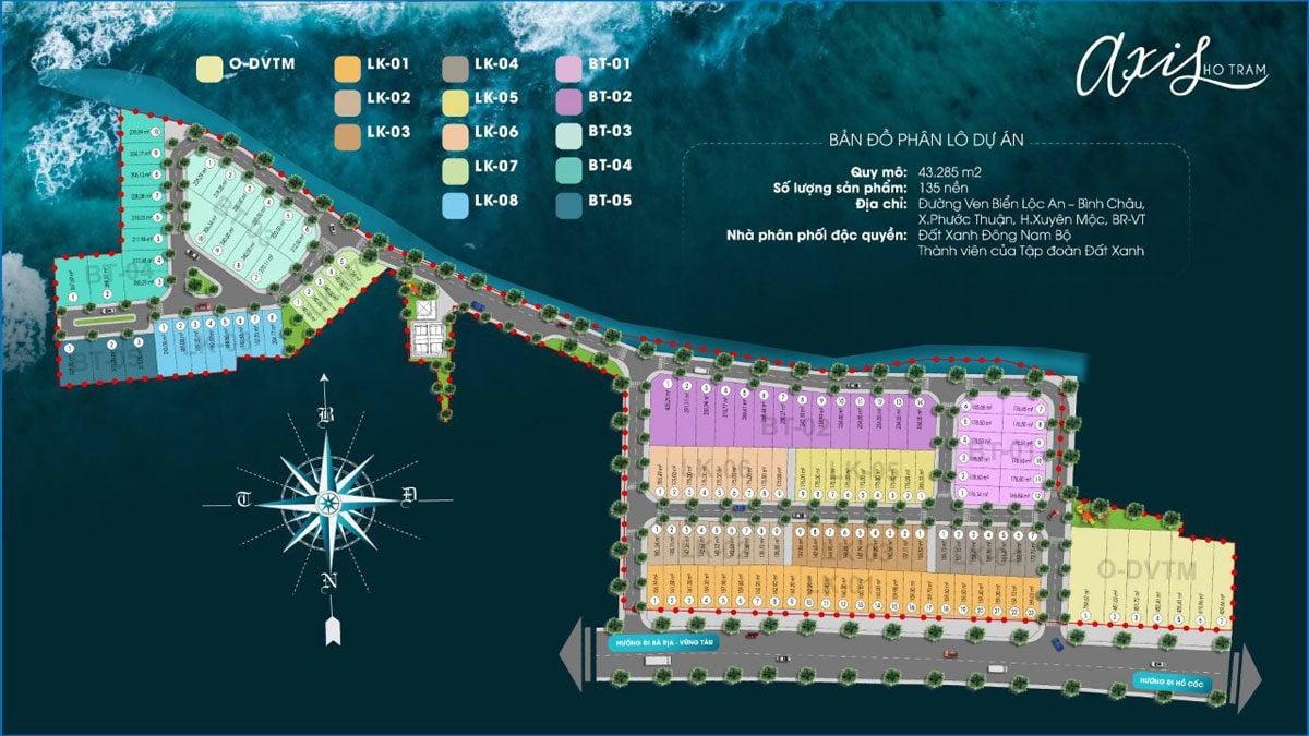 Mặt bằng Phân lô Dự án Axis Hồ Tràm Xuyên Mộc Bà Rịa Vũng Tàu