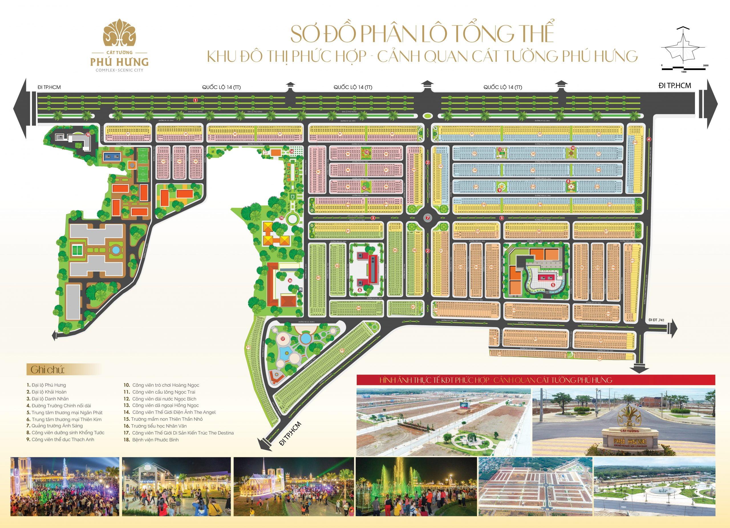Mặt bằng phân lô Dự án Khu Đô Thị Phức Hợp & Cảnh Quan Cát Tường Phú Hưng