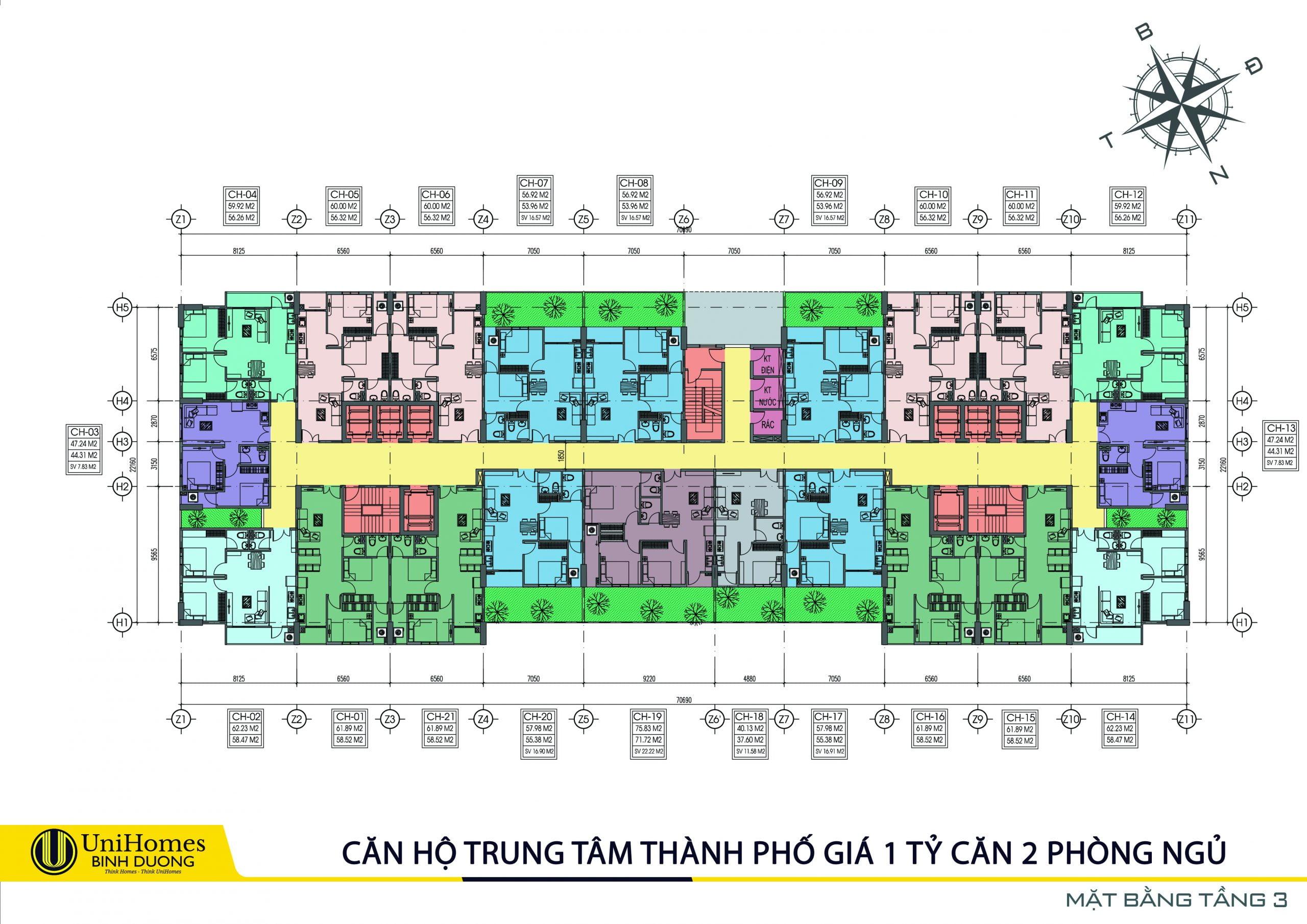 Thiết kế mặt bằng tầng 3 căn hộ tecco home an phú bình dương