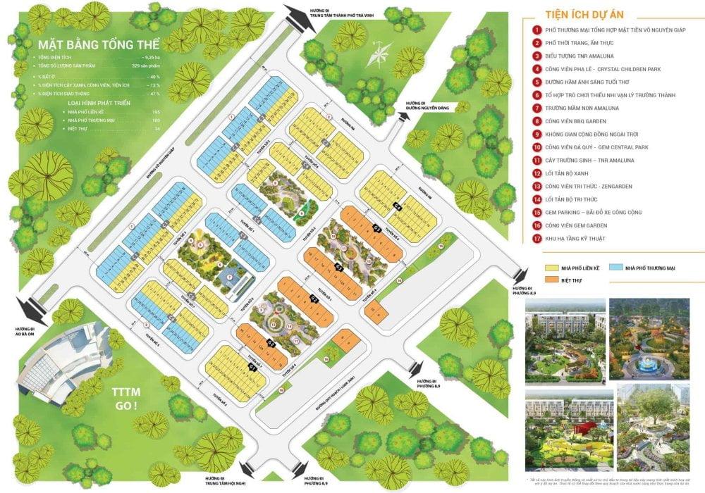Mặt bằng dự án khu đô thị nhà phố TNR Amaluna Trà Vinh