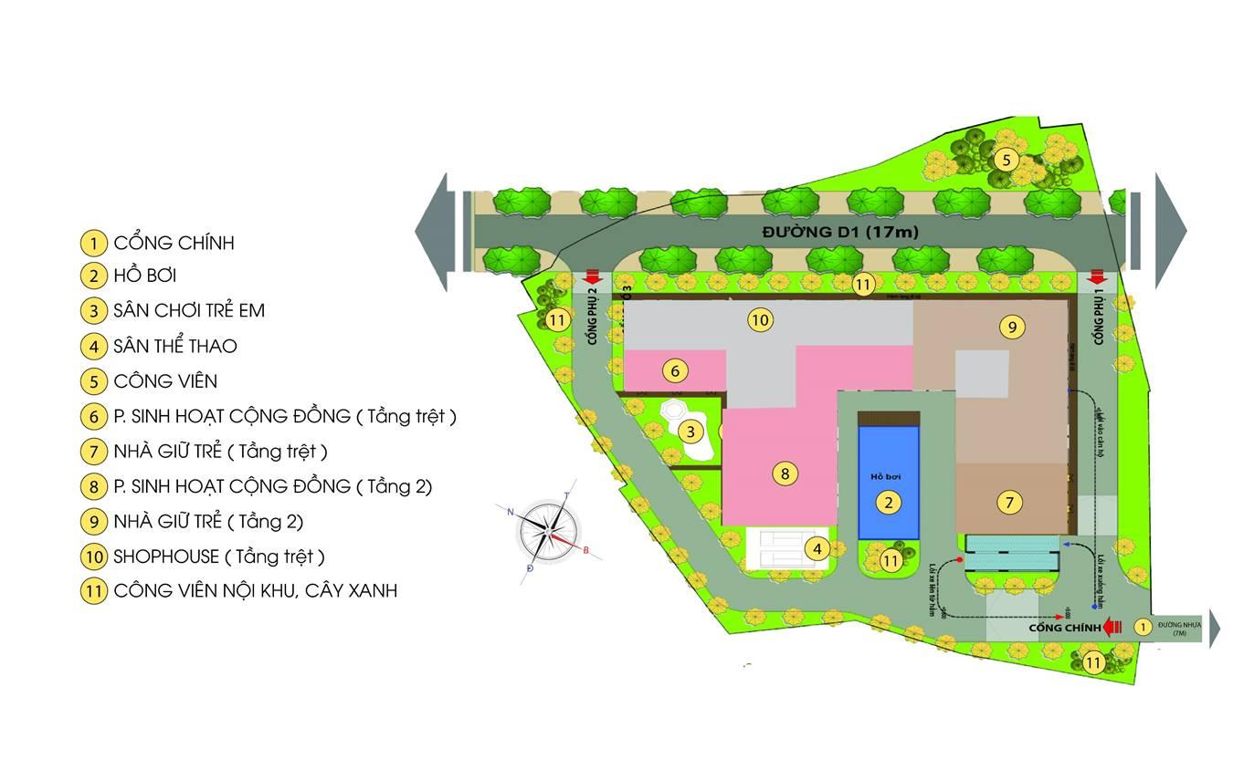mặt bằng thiết kế tổng thể dự án căn hộ bcons green view