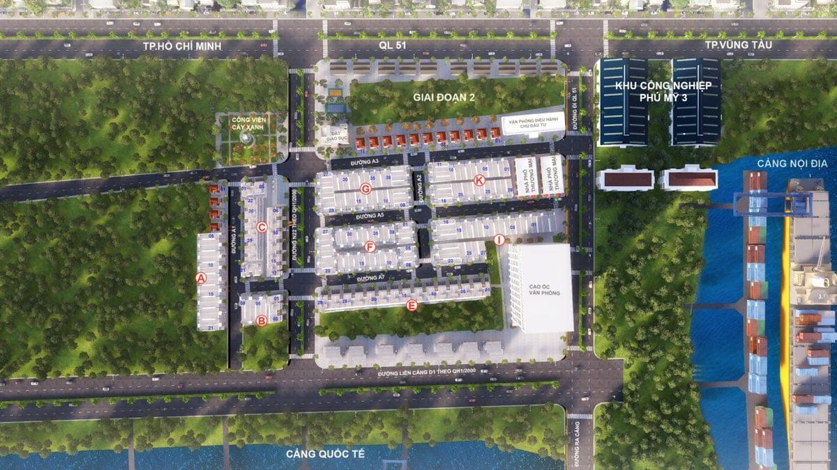 Mặt bằng Tổng thể Dự án SeaPort City Thị xã Phú Mỹ, Tỉnh Bà Rịa – Vũng Tàu