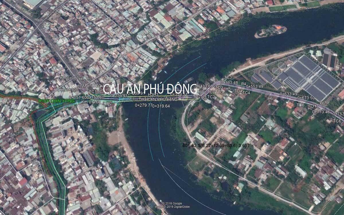 Vị trí thực tế Cầu An Phú Đông Quận 12