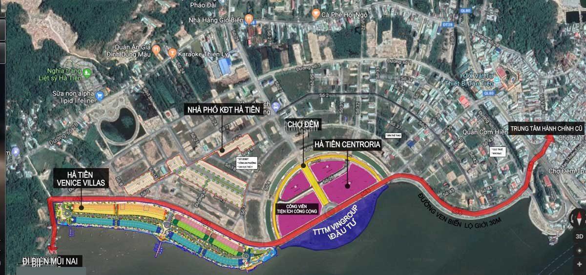 Vị trí Dự án Hà Tiên Centroria trên Google Maps