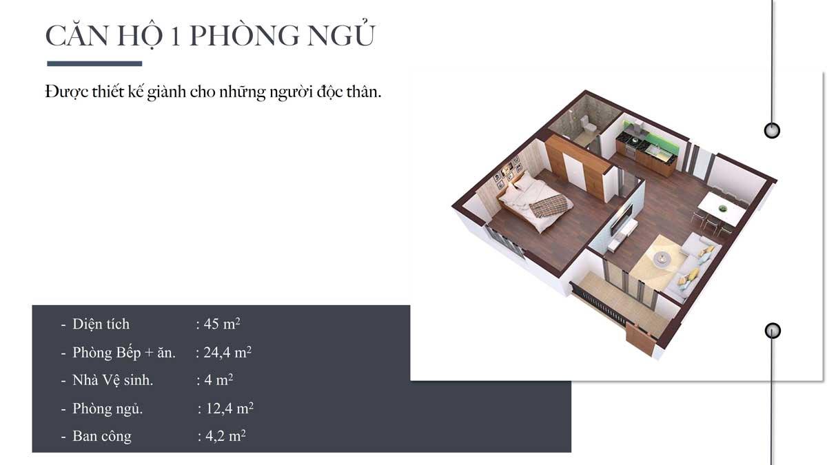 Thiết kế Căn hộ 1 Phòng ngủ Chung cư Nhà ở xã hội Bộ Công An Quận 12