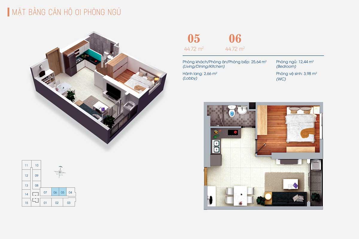 Thiết kế Căn hộ 1 Phòng ngủ Số 05 – 06 ViVa Plaza