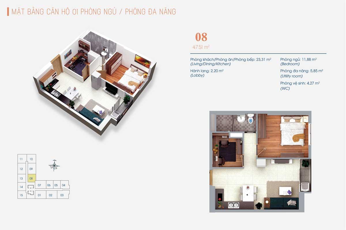 Thiết kế Căn hộ 1 Phòng ngủ và 1 Phòng đa năng Số 08 ViVa Plaza