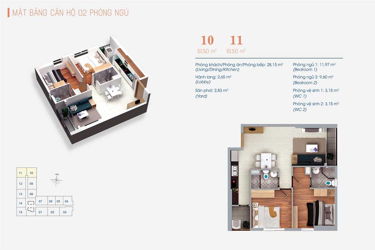 Thiết kế Căn hộ 2 Phòng ngủ Số 10 – 11 ViVa Plaza
