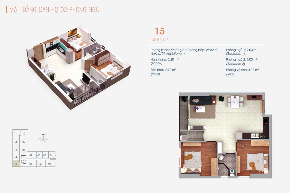 Thiết kế Căn hộ 1 Phòng ngủ và 1 Phòng đa năng Số 13 – 14 ViVa Plaza