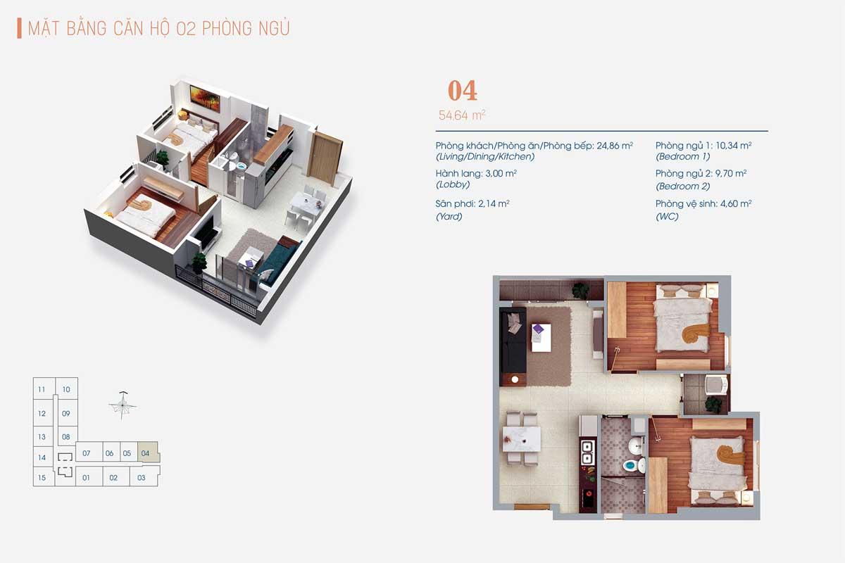 Thiết kế Căn hộ 2 Phòng ngủ Số 04 ViVa Plaza