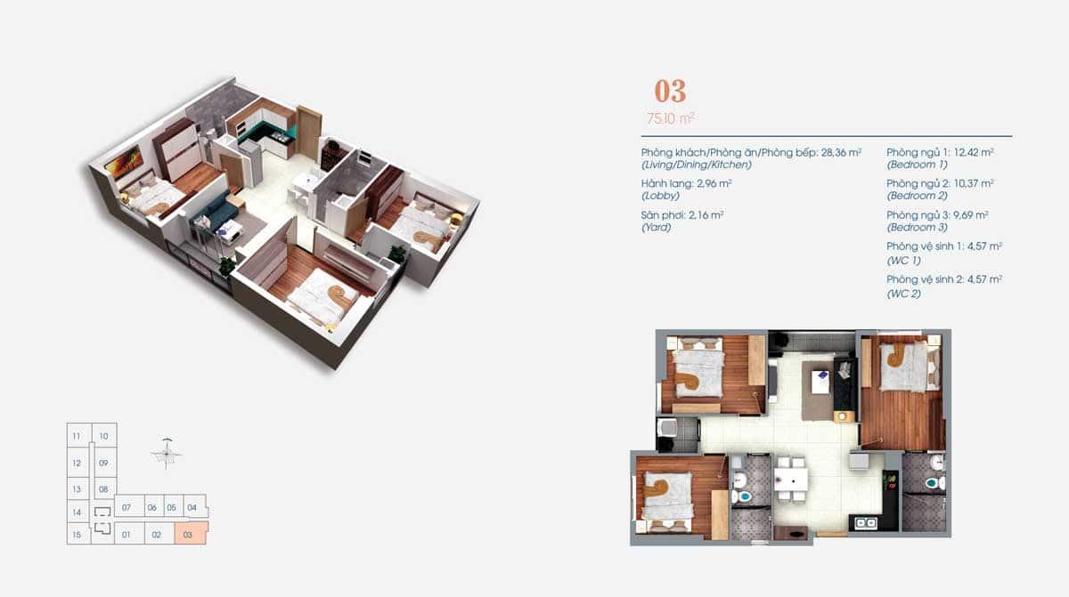 Thiết kế Căn hộ 3 Phòng ngủ Số 03 ViVa Plaza