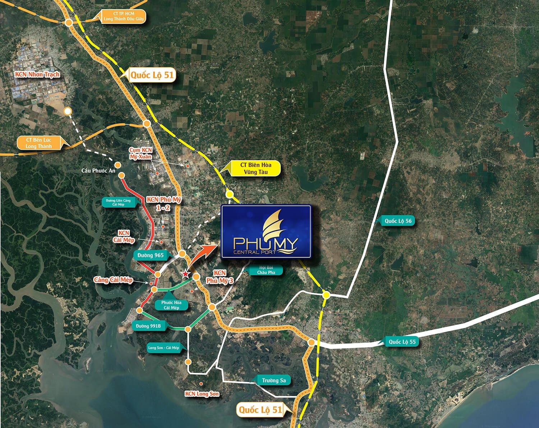 Vị trí thực tế Dự án phú mỹ central port bà rịa