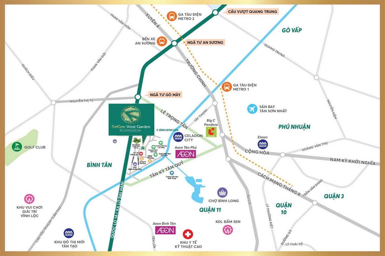 Vị trí địa chỉ đất nền khu dân cư Saigon West Garden Phường Bình Hưng Hòa Quận Bình Tân