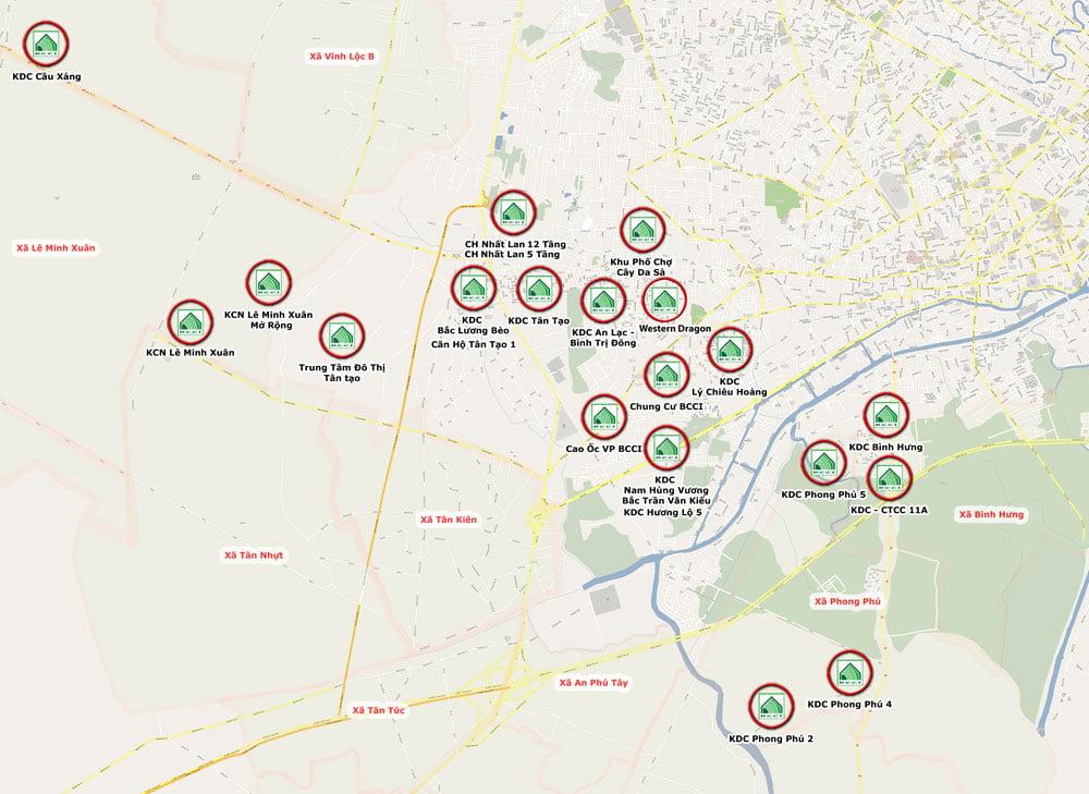 vị trí kết nối của The green village bình chánh