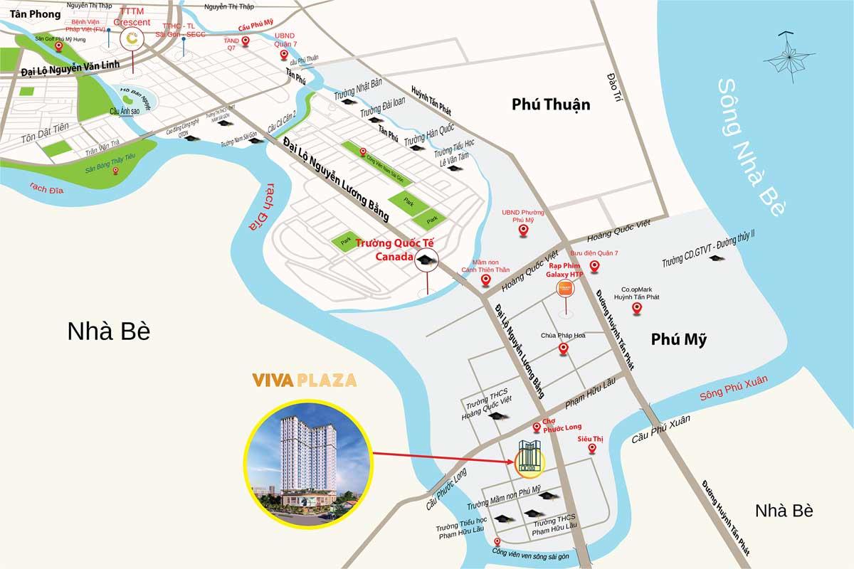 vị trí dự án căn hộ viva plaza quận 7