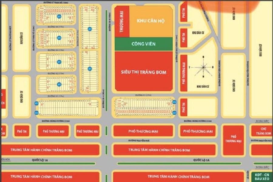 Mặt bằng phân lô dự án khu dân cư và siêu thị Trảng Bom